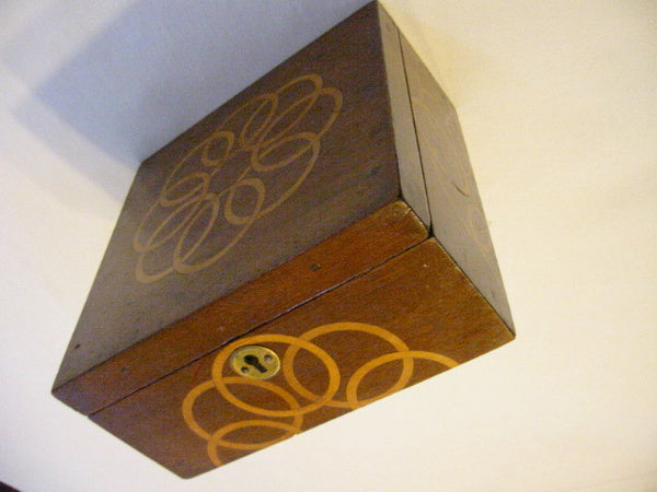 Mahogany Jewelry Box Art Deco Lined Decorated Inlaid Maple Marquetry - Designer Unique Finds