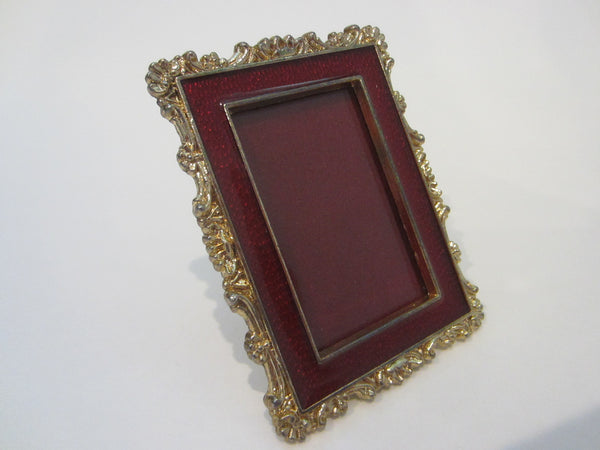 Golden Miniature Photo Frame Red Enameling Marked MRFC90