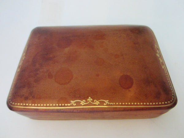 Mezzoni Florence Italy Rococo Style Leather Box Gilt Embossed - Designer Unique Finds