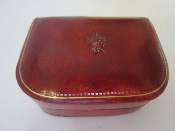 Italian Leather Jewelry Box Embossed Flower Medallion - Designer Unique Finds
