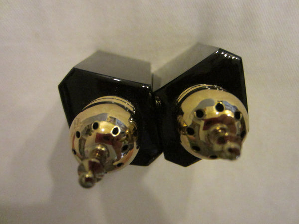 Japanese Black Onyx Salt And Pepper Shakers Brass Stoppers - Designer Unique Finds   - 4