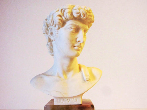 A Giannelli Volterra Alabaster David Bust Signed Copyrighted
