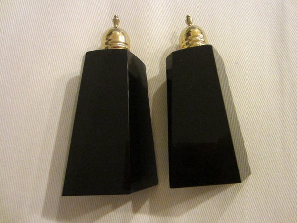 Japanese Black Onyx Salt And Pepper Shakers Brass Stoppers - Designer Unique Finds   - 3