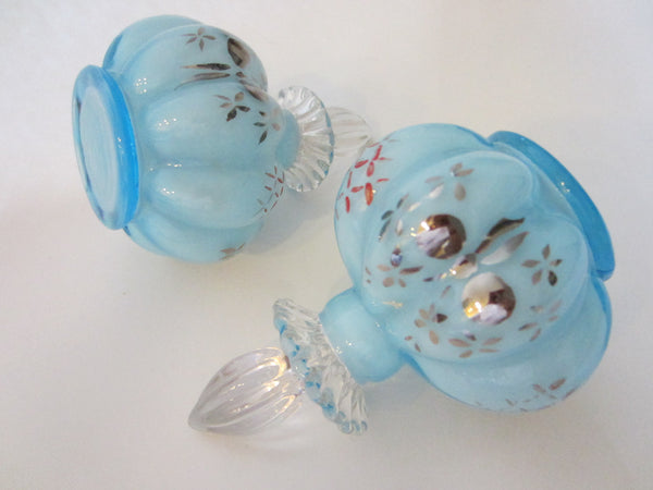 Charleton By Fenton Hand Decorated Blue Glass Perfumery Set - Designer Unique Finds   - 6