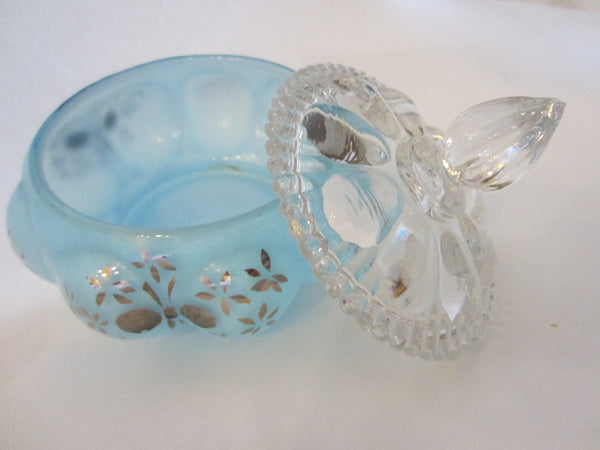 Charleton By Fenton Hand Decorated Blue Glass Perfumery Set - Designer Unique Finds   - 2