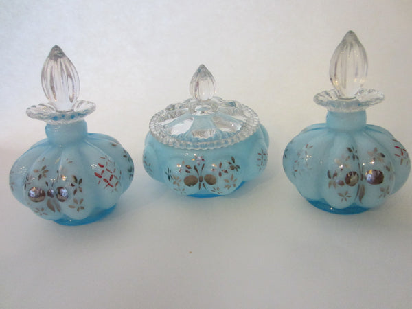 Charleton By Fenton Hand Decorated Blue Glass Perfumery Set - Designer Unique Finds   - 3
