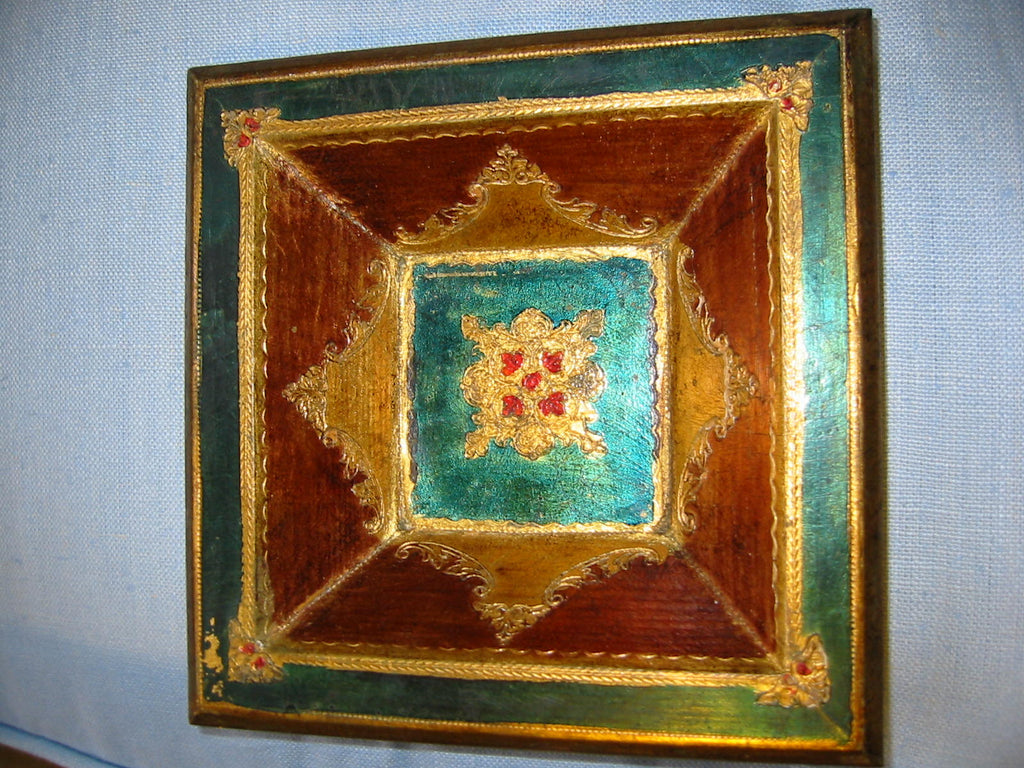 Florentine Gilt Decorated Art Deco Geometric Bowl - Designer Unique Finds   - 1
