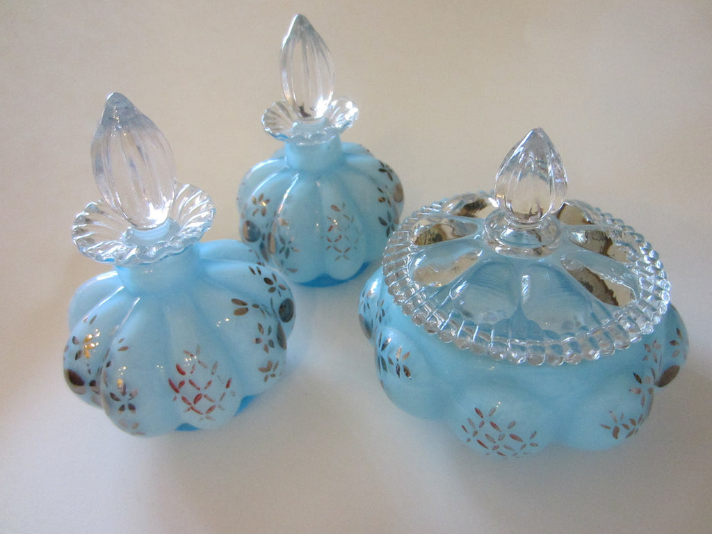 Charleton By Fenton Hand Decorated Blue Glass Perfumery Set - Designer Unique Finds   - 1