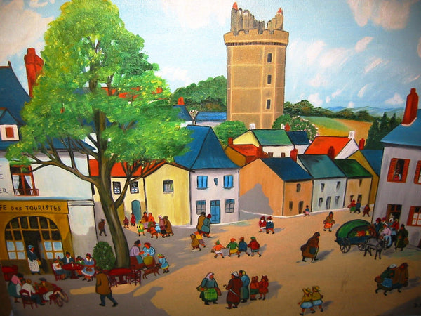 D Berg Impressionist France Village Views Signed Oil On Canvas - Designer Unique Finds   - 1