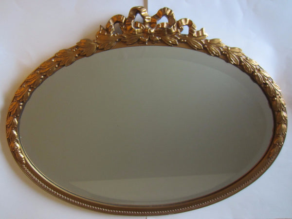 Rococo Style Oval Beveled Gold Mirror Ribbon And Bow Crest - Designer Unique Finds