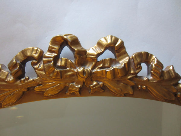 Rococo Style Oval Beveled Gold Mirror Ribbon And Bow Crest