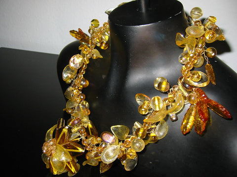 Citrine Necklace Modernist Glass Petals Decorative Flower Statement - Designer Unique Finds