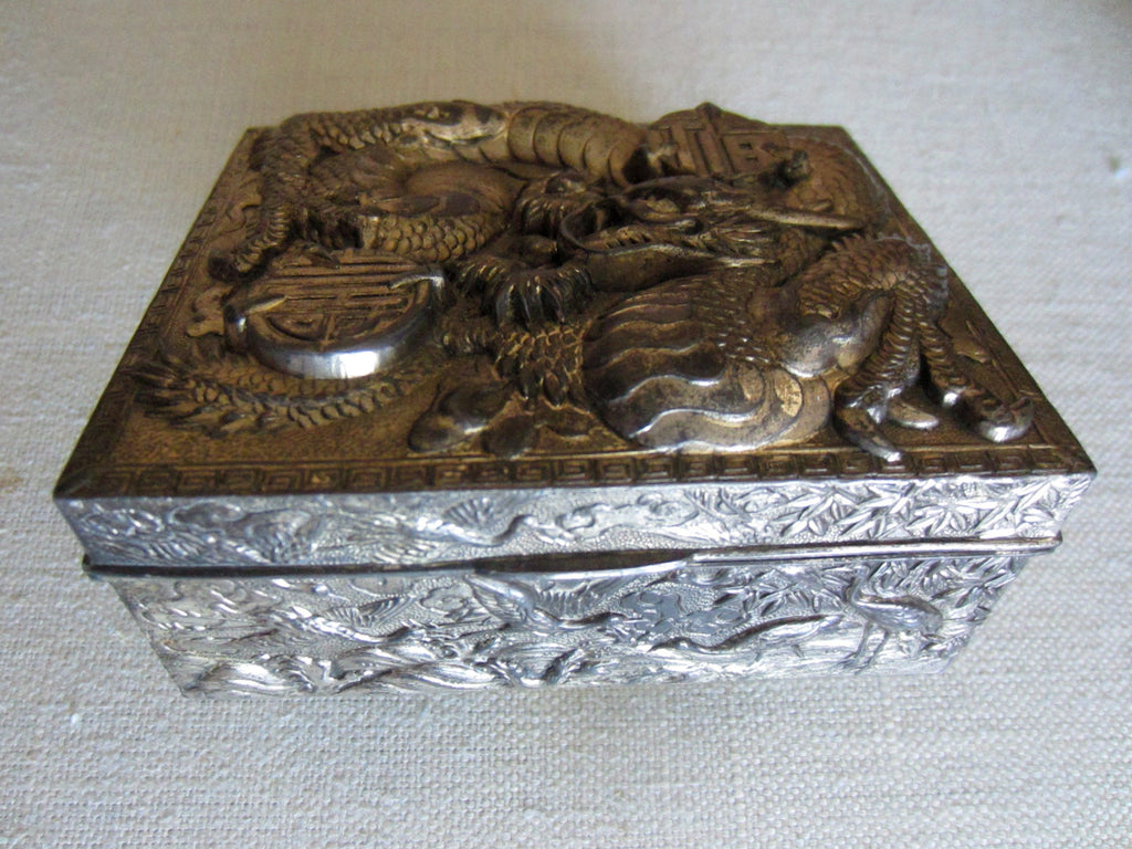 Japan Cased Art Deco Humidor Box Dragon High Relief - Designer Unique Finds   - 3