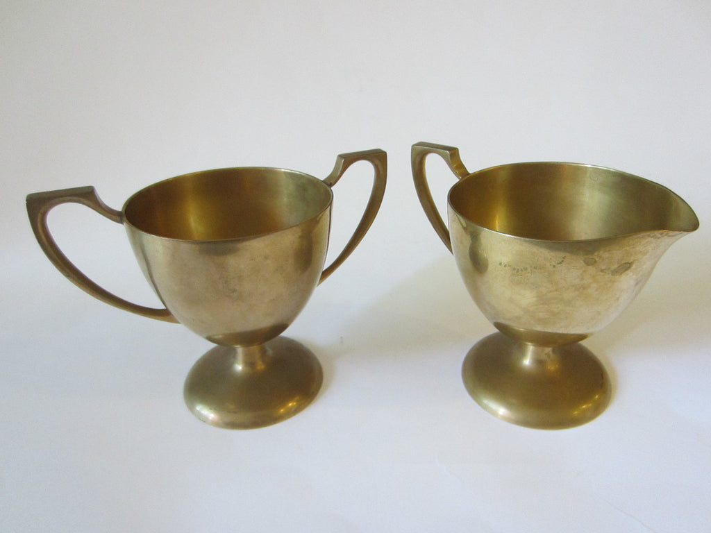 Dirilyte Mid Century Brass Modern Trophies Contemporary Creamer Sugar - Designer Unique Finds   - 1