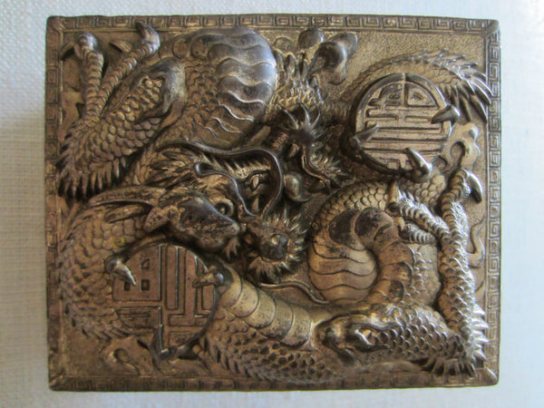 Art Deco Humidor Box Japan Phoenix Dragon High Relief Calligraphy - Designer Unique Finds