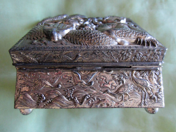 Japan Cased Art Deco Humidor Box Dragon High Relief - Designer Unique Finds   - 1