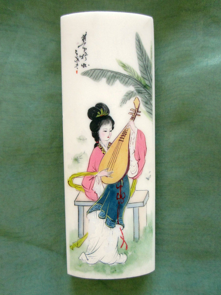 Chinese Stone Paperweight Mandolin Player Geisha Hand Painted Signed - Designer Unique Finds   - 1