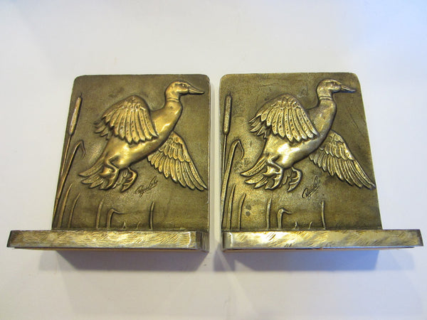 Bruce Fox Bronze Flying Ducks Bookends Hand Worked Signed Labeled - Designer Unique Finds   - 1