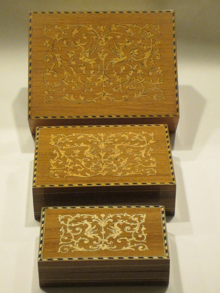 Italian Inlaid Nested Boxes Hand Work Birds Flowers Marquetry - Designer Unique Finds   - 4