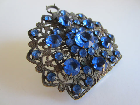 Art Deco Dress Clip Blue Glass Gems Cabochons Open Work