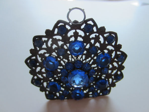 Art Deco Dress Clip Blue Glass Stones Cabochons Open Work - Designer Unique Finds
