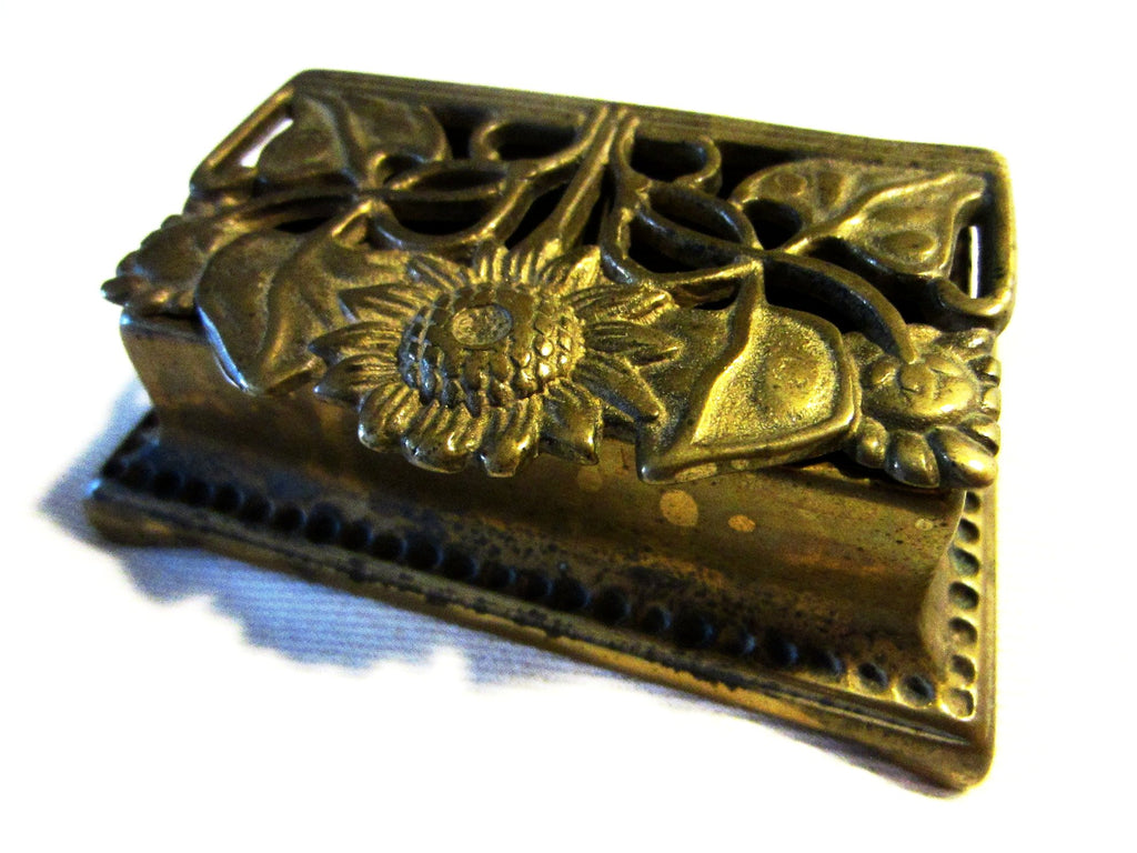 Daisy Brass Stamp Box Sectional Open Work Hinged - Designer Unique Finds   - 1