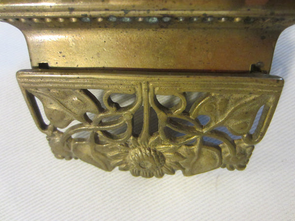 Daisy Brass Stamp Box Sectional Open Work Hinged - Designer Unique Finds   - 3
