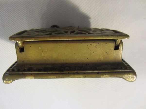 Daisy Brass Stamp Box Sectional Open Work Hinged - Designer Unique Finds   - 4