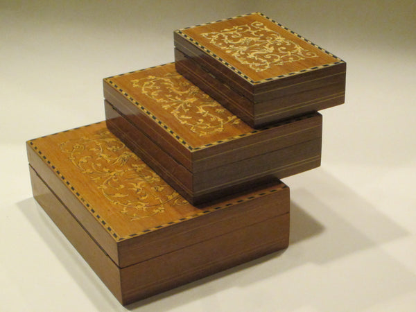 Italian Inlaid Nested Boxes Hand Work Birds Flowers Marquetry - Designer Unique Finds   - 2