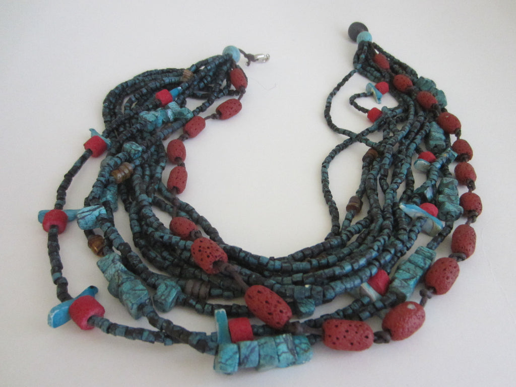 Southwestern Hand Carved Turquoise Coral Bead Strands Necklace Birds - Designer Unique Finds