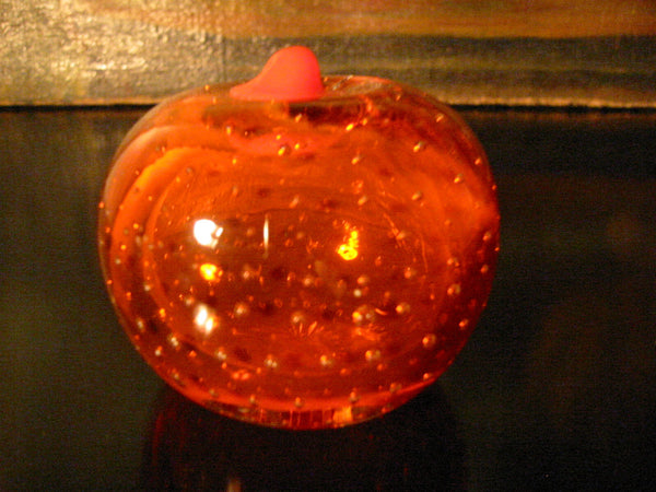 Orange Paperweight Bold Stem Controlled Bubbles Glass Art - Designer Unique Finds