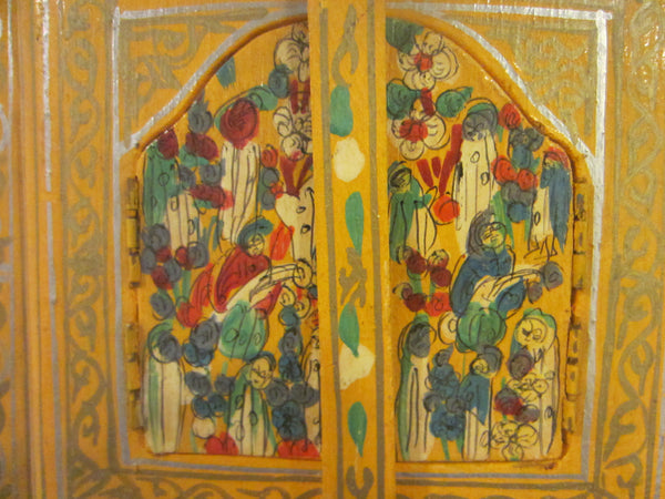 Bohemian Tribal Triptych Style Hand Painted Hidden Wall Mirror - Designer Unique Finds