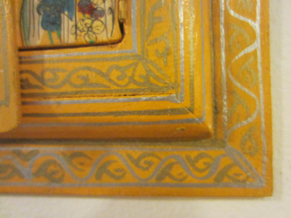 Bohemian Tribal Triptych Style Hand Painted Hidden Wall Mirror - Designer Unique Finds   - 6