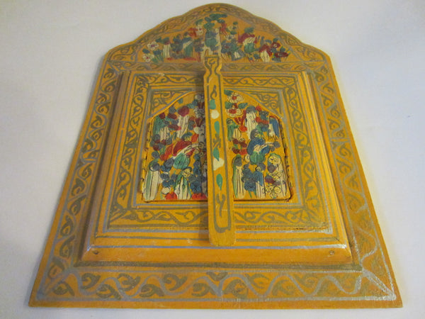 Bohemian Tribal Triptych Style Hand Painted Hidden Wall Mirror - Designer Unique Finds   - 2