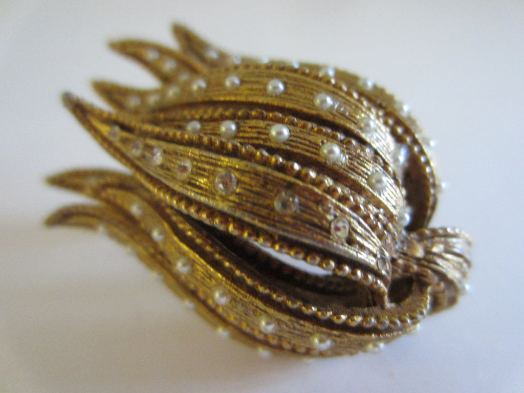 Golden Tulip Brooch Micro Pave White Crystals Seed Pearls - Designer Unique Finds