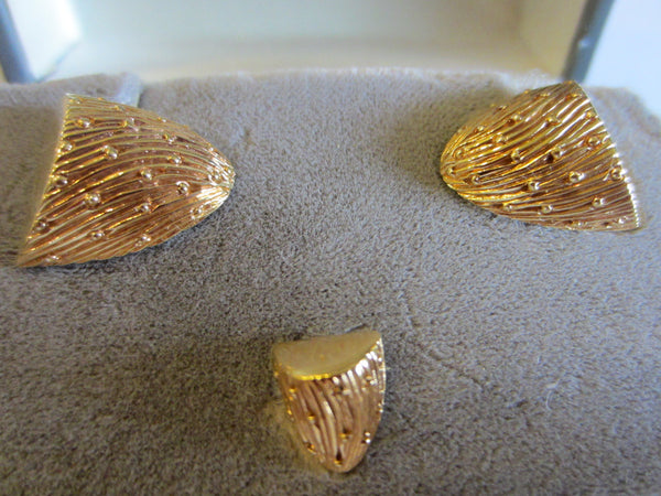 Christian Dior Golden Nuggets Cuff Links Tie Tack - Designer Unique Finds   - 1