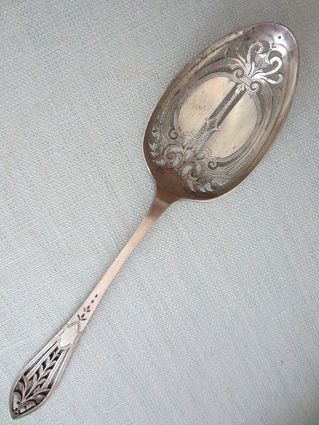 Reed Barton Antique Silver Serving Spoon Openwork Filigree Etched Hallmarks - Designer Unique Finds   - 5