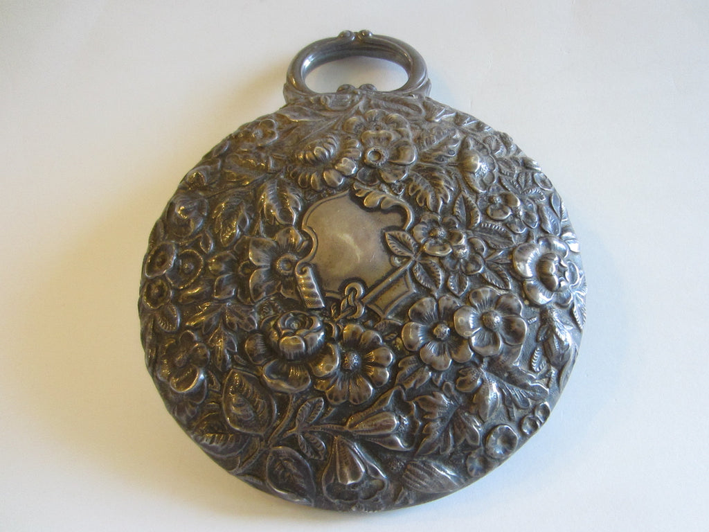 Hand Held Sterling Mirror Blooming Repouse Flowers