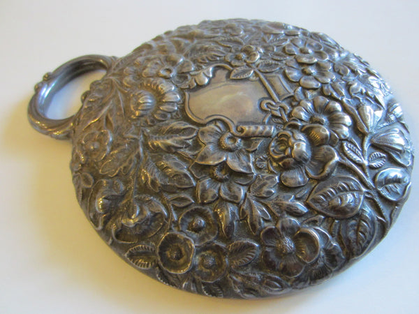 Hand Held Sterling Mirror Blooming Repouse Flowers - Designer Unique Finds