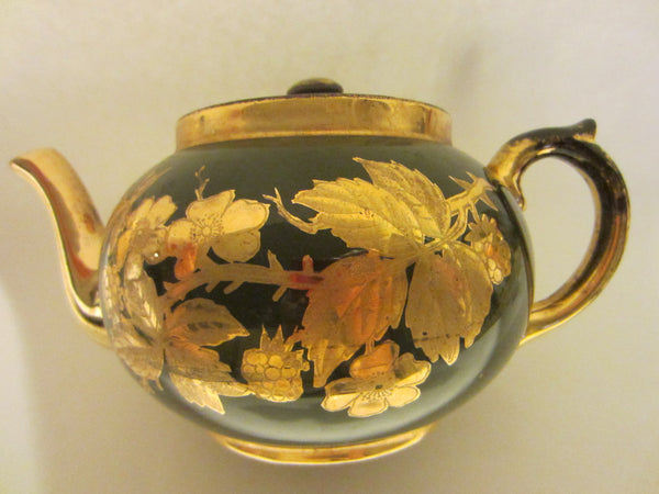 Staffordshire England Green Teapot Decorated Gold Flowers - Designer Unique Finds