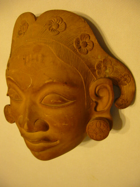 Tribal Mask Indonesian Folk Art Wood Carving Hand Crafted Wall Decor - Designer Unique Finds