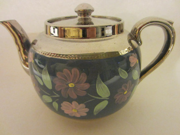 Sudlow's  Burslem England Blue Silver Teapot Marked Numbered - Designer Unique Finds   - 4