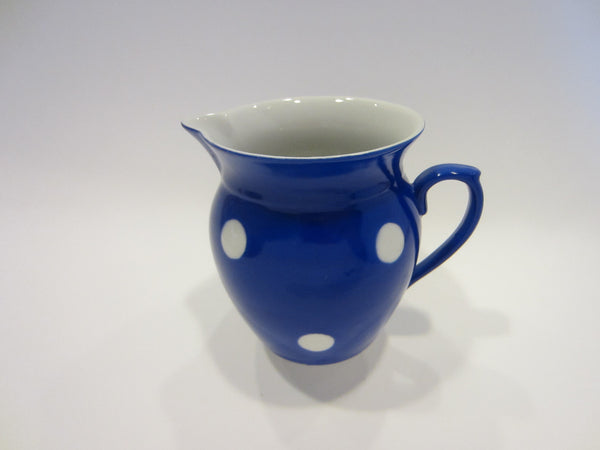 Blue Ceramic Pitcher Hand Painted White Polka Dots