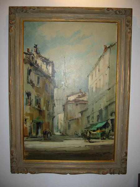G Frati Italy City View Oil on Canvas Artist Proof - Designer Unique Finds   - 2