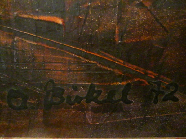 A Bickel Impressionist Contemporary Signature Painting Abstract Art Oil On Board