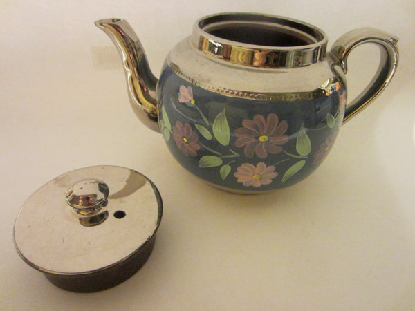 Sudlow's  Burslem England Blue Silver Teapot Marked Numbered - Designer Unique Finds   - 1