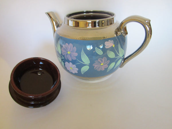 Sudlow's  Burslem England Blue Silver Teapot Marked Numbered - Designer Unique Finds   - 2