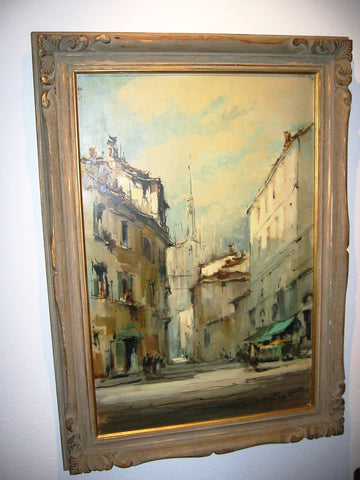 G Frati Italy City View Oil on Canvas Artist Proof - Designer Unique Finds   - 8