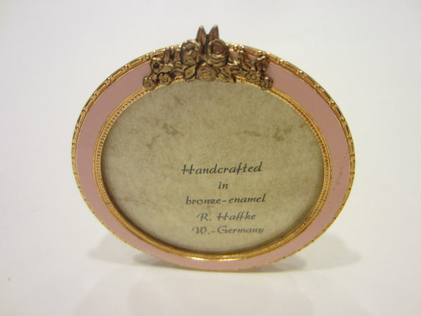 R Haffke W Germany Enameled Miniature Gilt Bronze Pink Picture Frame - Designer Unique Finds