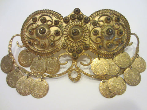 A Large Gold Plated Charm Clip Buckle Decorated Mid Eastern Coins Made in Greece